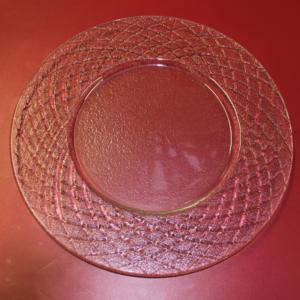 Piatto tondo vetro decoro rombi