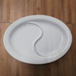 vassoio ovale 2 scomparti porcellana