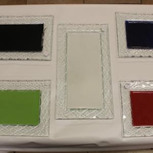 vassoio rettangolare vetro interno colorato